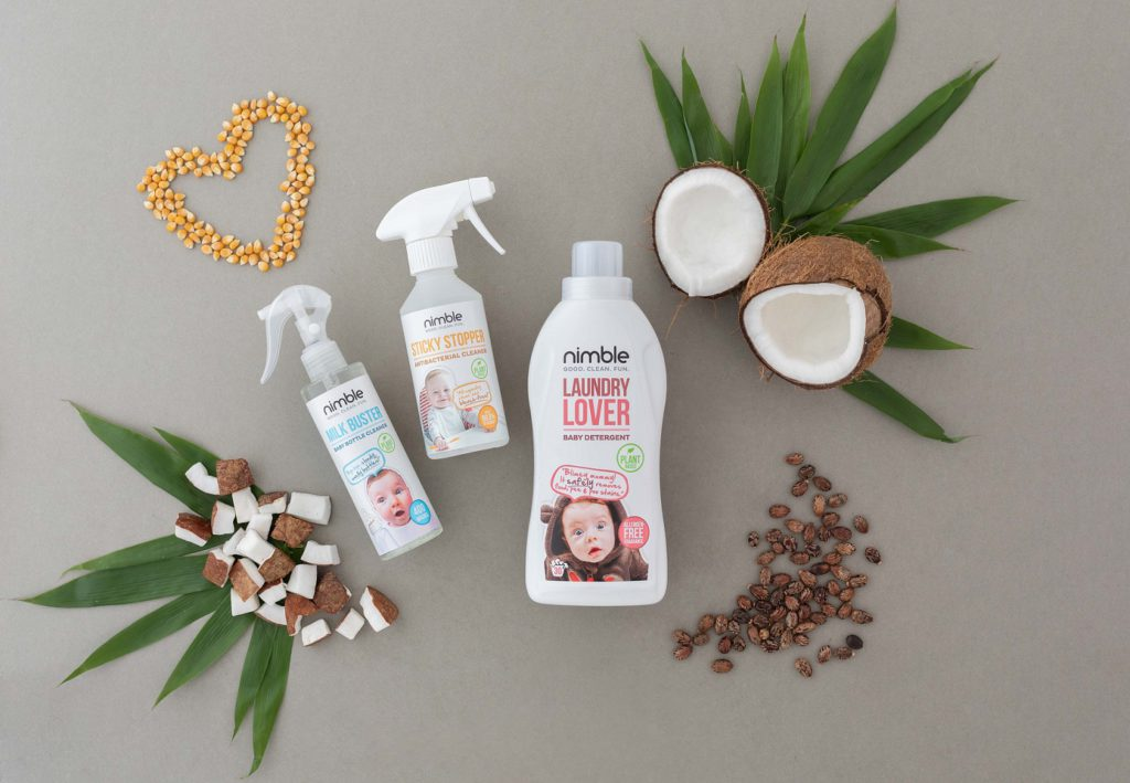 Nimble Babies selection of products, including Milk Buster; Laungry Lover and Sticky Stopper.