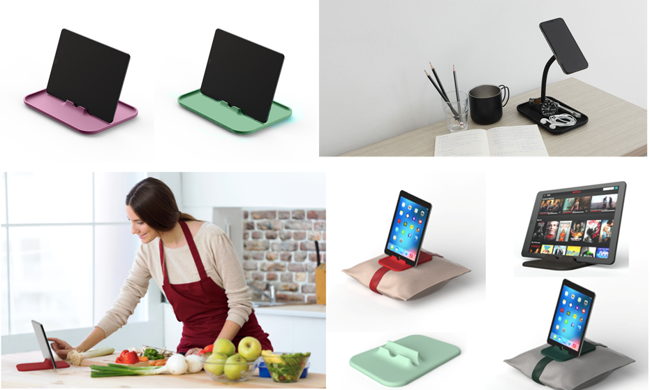 SYLK products: Apple product tablet and phone holders/chargers.