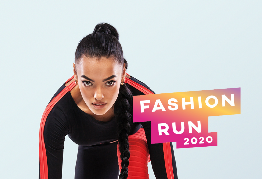 """A woman, waiting to start running, with the words """"Fashion run 2020"""""""