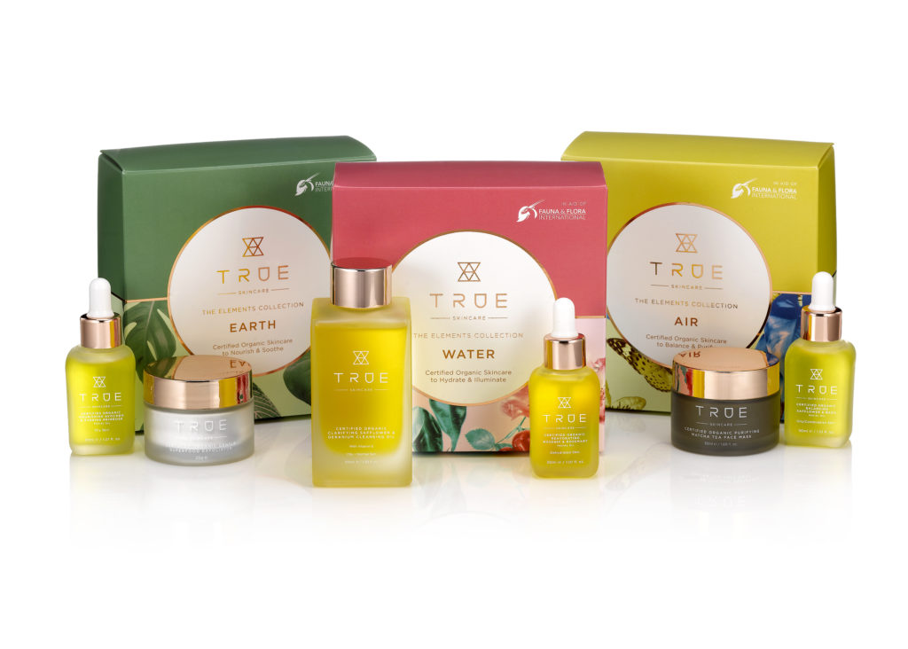 The of TRUE Skincare's products: Earth, Air and Water.