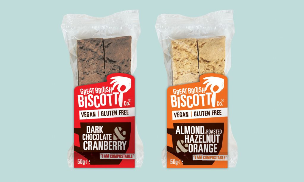 A packet of Dark Belgian Chocolate & Cranberries biscotti and a packet of Almond, Hazelnut and a hint of Orange biscotti